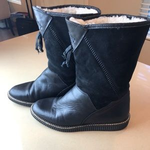 Shoes - NWOT Black Leather and Suede Boots